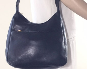 Tignanello Black Leather Purse, Bag, Shoulder Bag, Gold Tone Hardware