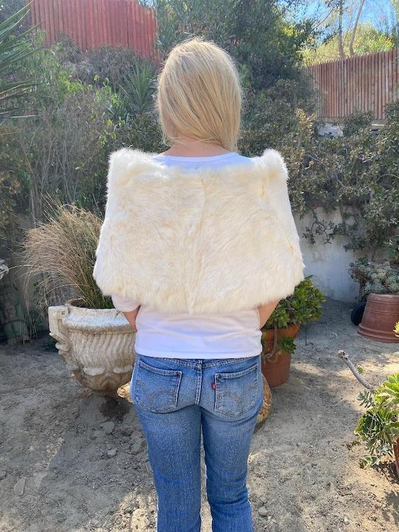 White Fur Stole, Vintage Stole, Shoulder Wrap, Ra… - image 2