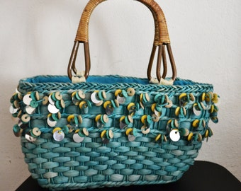 Woven Wicker Purse bag, Teal blue, Beaded top handle,Tote,summer purse,sequin,beaded