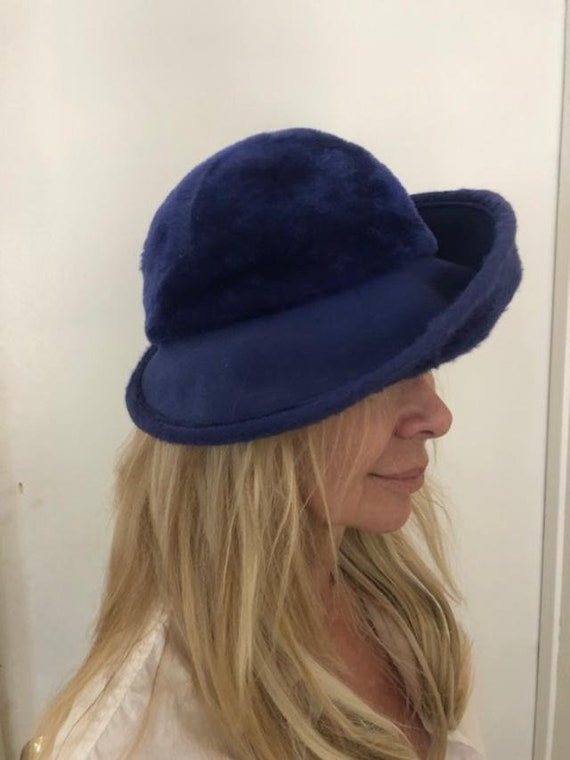 Norman Durand Original Hat from the 1940-50s,Blue… - image 2