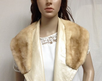 Mink and Leather Collar,off white,tan,wide fur collar