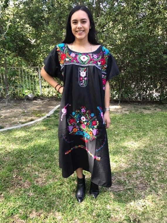 Oaxaca dress,Small,S,Mexican dress,Black,cotton dr