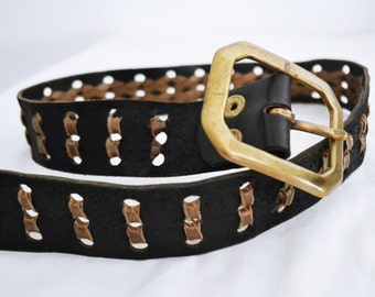 Black leather belt, Leather, Weaved leather, brown, black,buckle,1970s
