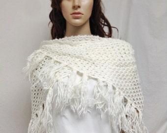 White Knit Shawl, Fringed Wrap