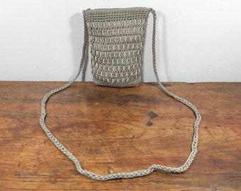 Tan, Woven Purse, Cross Body, Shoulder Bag, with Ribbon ,Purse