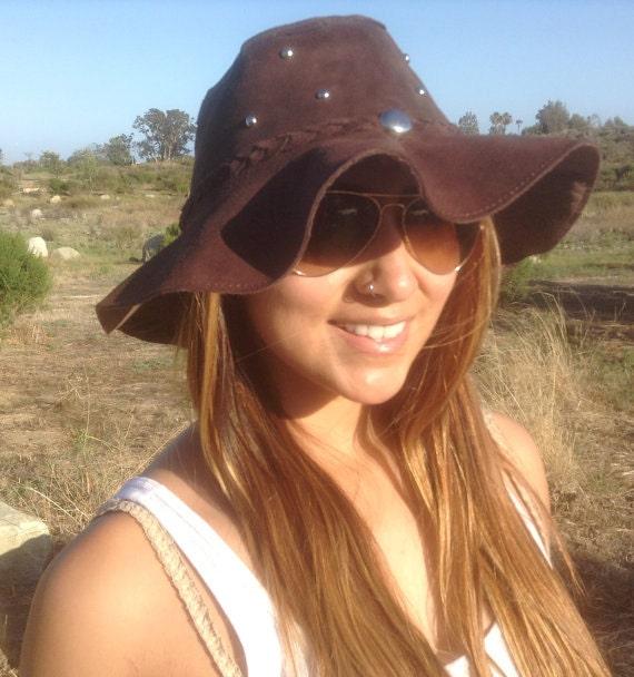 Suede Leather Hat Floppy hatHippie hatWestern Boho Suede  10c3c826748