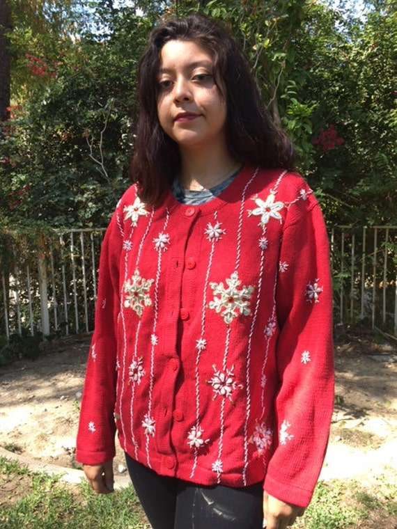 Ugly Christmas sweater, red cardigan sweater, red,