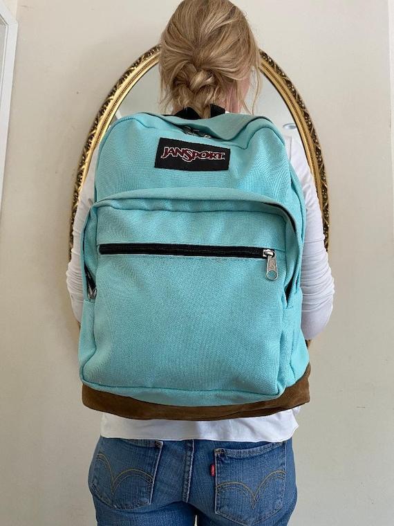 Jansport backpack,Leather Bottom,Backpack bag, Aqu