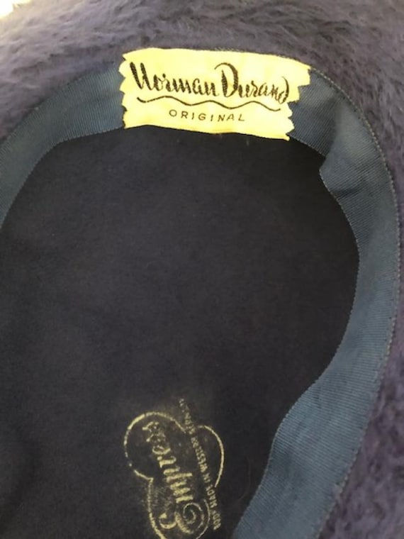 Norman Durand Original Hat from the 1940-50s,Blue… - image 5
