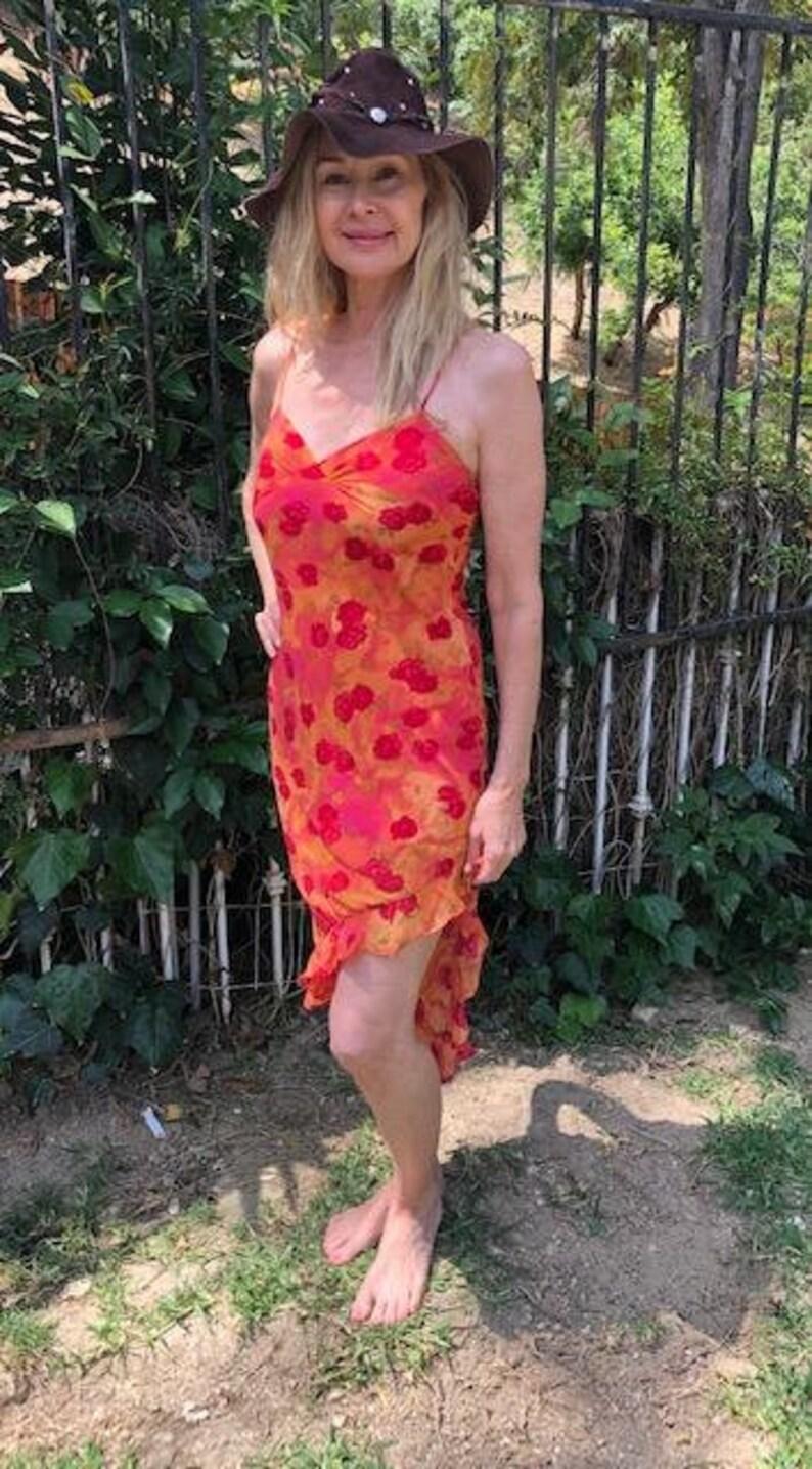 Red Orange Pink,Small,Rose dress Floral Rose Dress