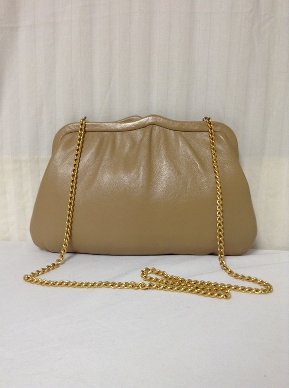 Tan leather pursebag Tanleather1950s 1960 s Ande  51c027dae24b8