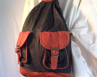 Backpack bag,leather backpack,black,leather, black, brown ,Bikers Bag ,1980's 80s