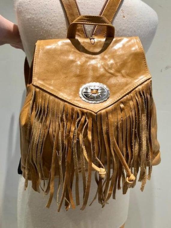 Backpack bag, leather backpack, fringed backpack,