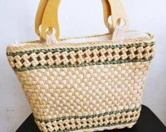 Woven Wicker Purse,bag, Wood Handles, Handbag, tan, green,summer purse