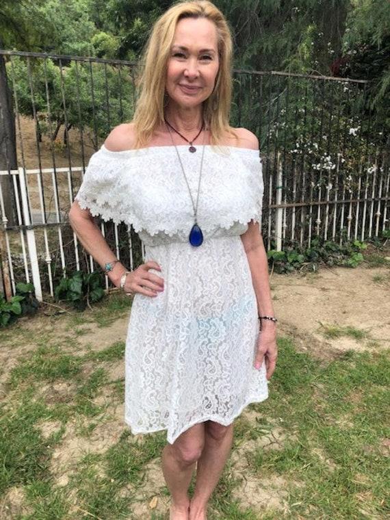 Lace Boho dress,white, semi sheer,Lace dress,White