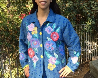 Embroidered jacket, XL, blue, lavender, peach, coat