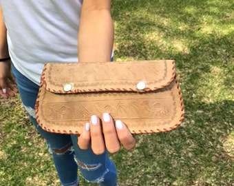 Large wallet,Tooled leather wallet,Egyptian ,Whip Stitched ,Wallet, Bohemian Wallet,boho wallet,tan leather,clutch