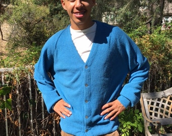 Men's cardigan sweater, alpaca, Lord Jeff knit,large,blue,Alpaca sweater