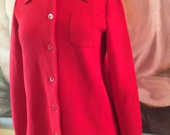 Capwell's,Red knit jacket, coat, size 36,Medium,wool coat,wool jacket