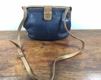 Courtenay Blue Leather Purse, Bag, Brown Leather Trim