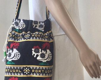 Ethnic Boho Purse, Bag, Roosters, Shoulder Bag, Black, Red, Green, Boho Bag, Cinch Bag, Portugal