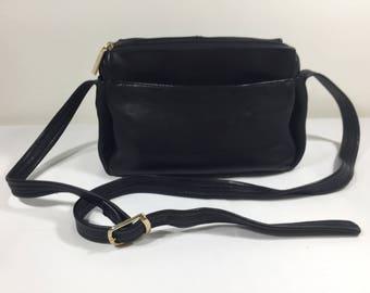 Tignanello, Black Leather Purse, Bag, Shoulder Bag, Gold Tone Hardware