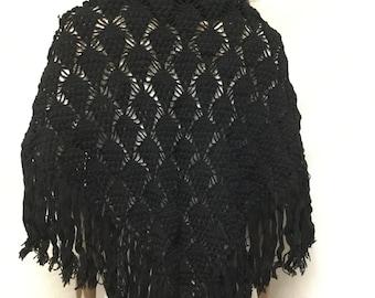 Black Knit Shawl, Fringed Wrap