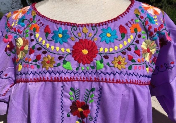 Oaxaca dress,embroidered dress,Large,Mexican dres… - image 4