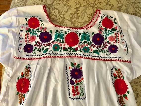 Mexican dress, embroidered BoHo dress, cotton dre… - image 4