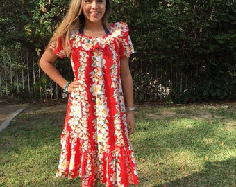 Red Hawaiian dress, small, yellow hibiscus, flowers
