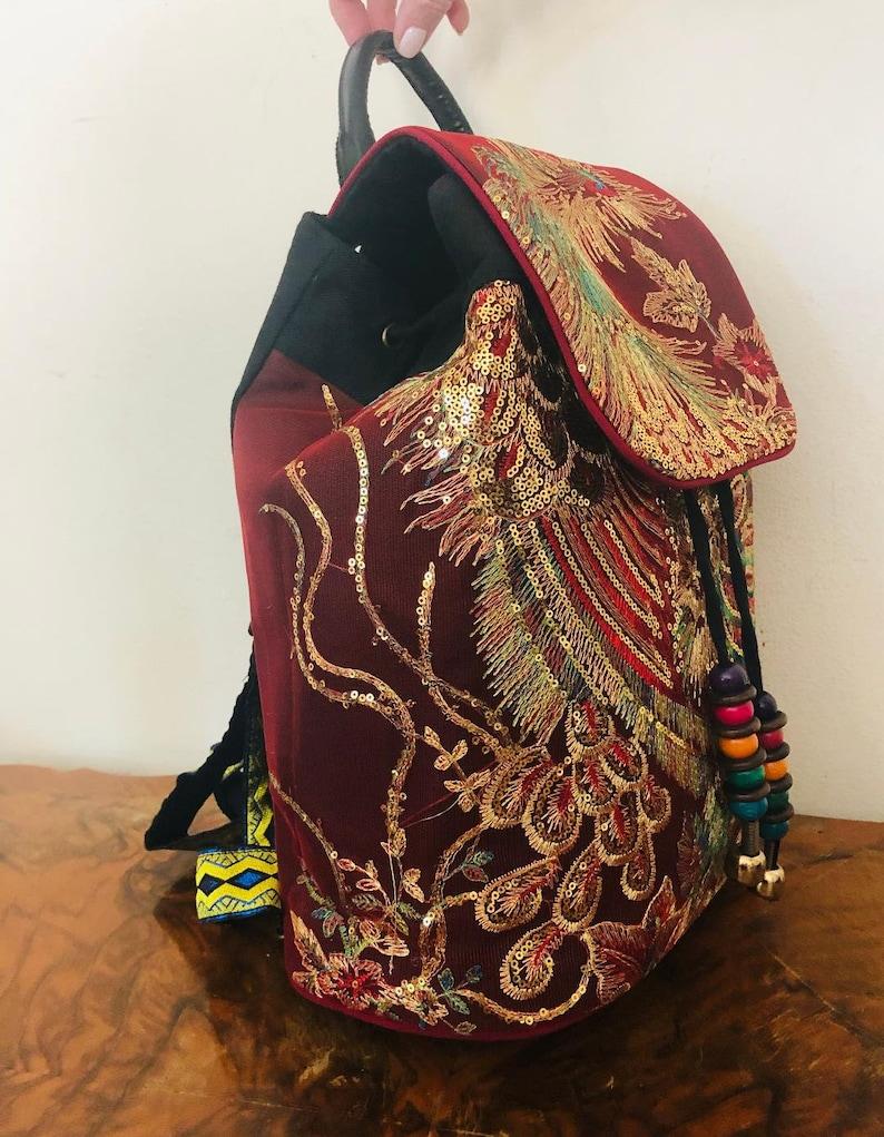 Red Backpack Backpack Bag Beaded cinch Peacock bird design,Gold Sequin