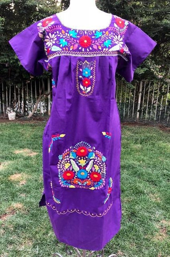 Oaxaca dress, Mexican dress, purple cotton dress,