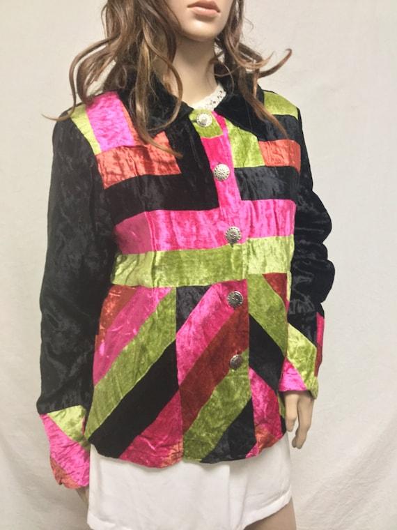 Velvet Jacket, Medium, Black, Green, Pink ,velvet,