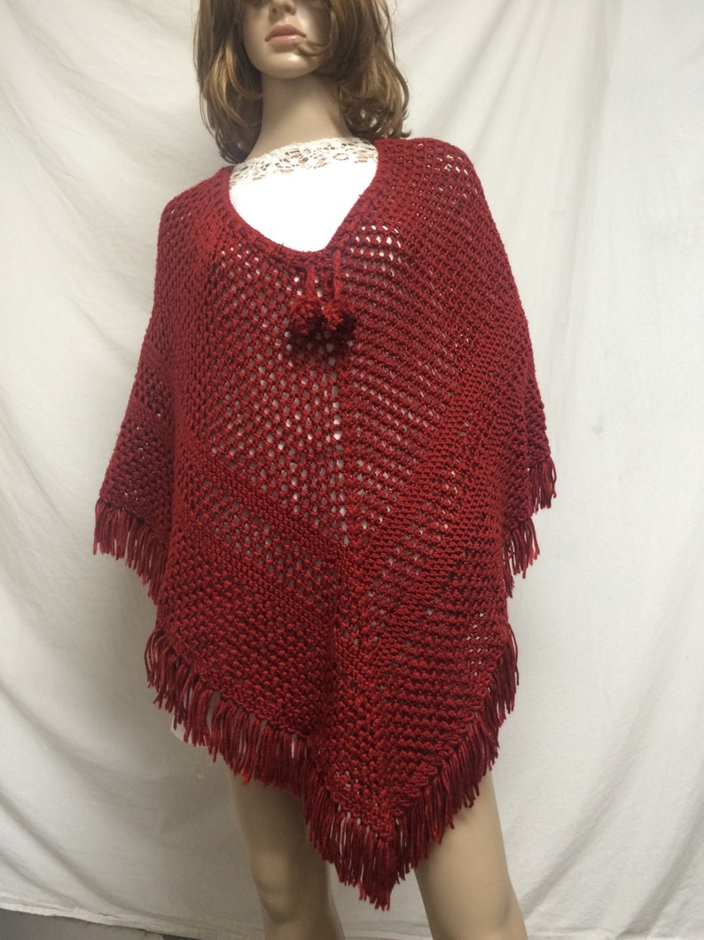 Knit poncho,poncho top,red one size fit all knit wrap rust,poncho