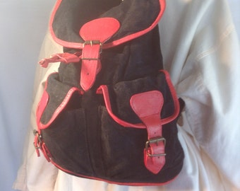 Backpack bag,suede leather, black, brown, leather backpack, purses ,bags,back pack