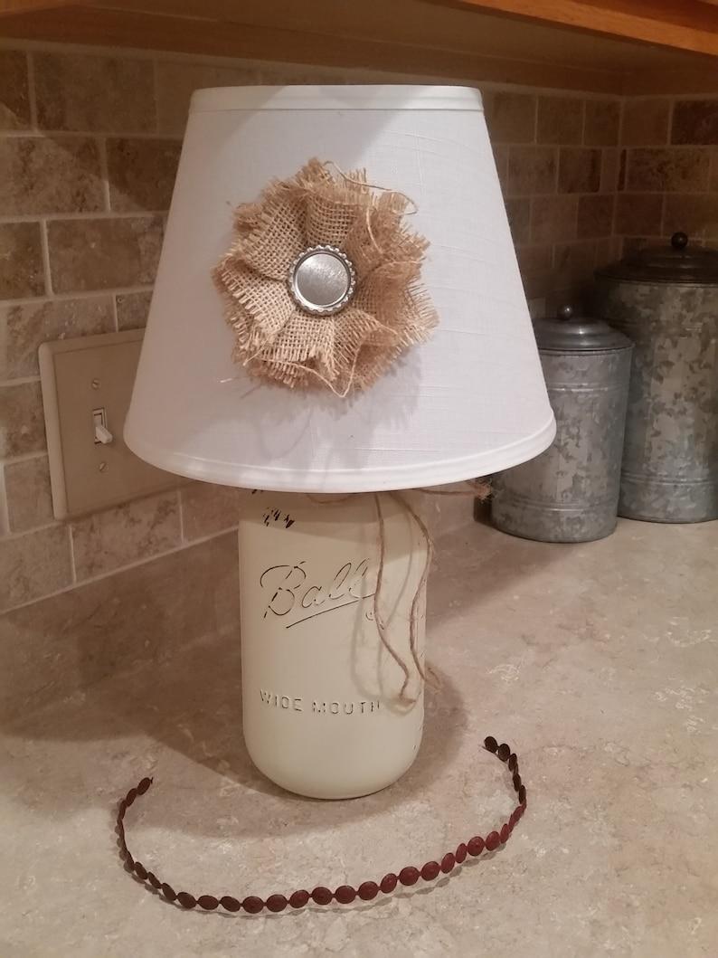 Beach House Lamp, Mason Jar Lighting, Beach Decor, Off White Accent Lamp,  Mason Jar Lamp, Distressed Lamp, Gift For Her