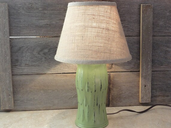 Up Cycled Vase Lamp Green Table Lamp Unique Recycled Lamp Etsy