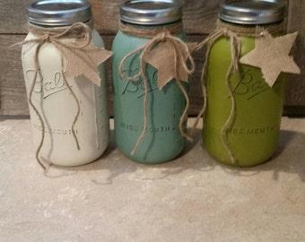 DEMI GALLON - peint et boule Mason pots-blanchis sable/Eucalyptus/Rainette verte-fleur Vases, mariage rustique, pièces maîtresses en détresse