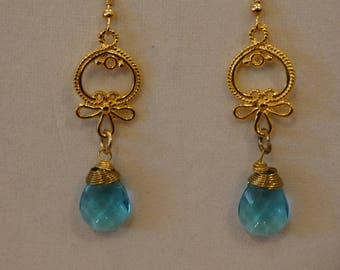 Gold and Aqua Chandelier Earrings