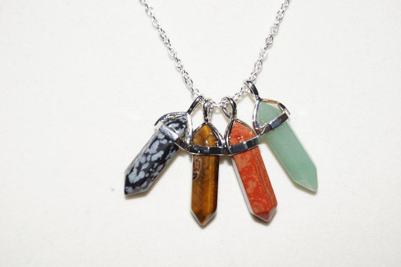 Green Aventurine, Red Jasper, Snowflake Obsidian, Tigers Eye Small Crystal Pendant Necklace