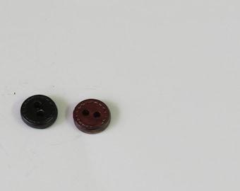 1 Dozen Texturized Brown Vintage 2-Hole  Leather Buttons Style 1849-40