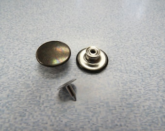 Brass or Silver Jeans Buttons  Cap and Tack 1 Dozen Ant Style Jeans B.8 K5219