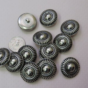 One Package Flower Textured Pattern Antique Silver Shank Buttons K5434 12 Buttons