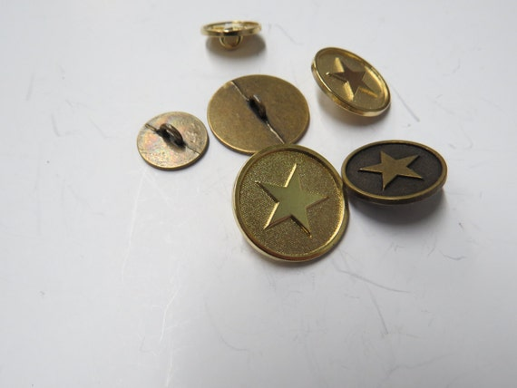Antique Coloured Brass Buttons 21 mm 5 Buttons
