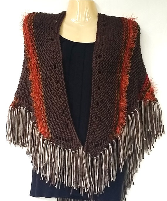 New Brown Orange Handmade Knit Triangle Shawl Shrug Bolero Wrap Boho Hippie  Tribal Fringed Soft Gift For Her One Of A Kind Hand Knitted