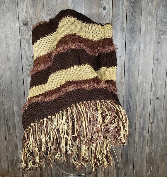 Light Brown with Chocolate Eyelash Hand Knitted Afghan
