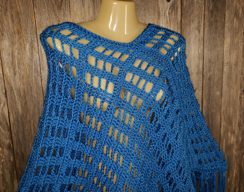 Cobalt Blue Hand Crochet Handmade New Poncho Sweater Womens Fringe Soft Boho Hippie New Gift for Her Gifts Layering Gifts Fashion New