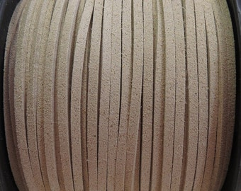 3x1.5mm Sand Faux Suede Cord - (G8)