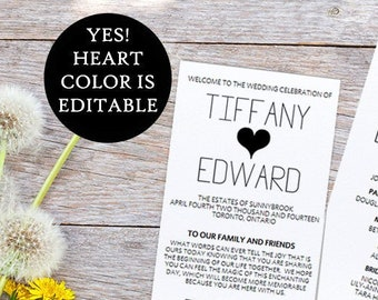 Heart Wedding Program Template Printable Timeline - DIY Typography Ceremony Program for the Modern Wedding - Wedding Program PDF Download