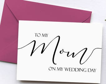 To My Mom On My Wedding Day Card, Wedding Thank You Card, Stepmother Card, Mother of the Bride Gift Card, Mother of the Groom Gift Card, Dad